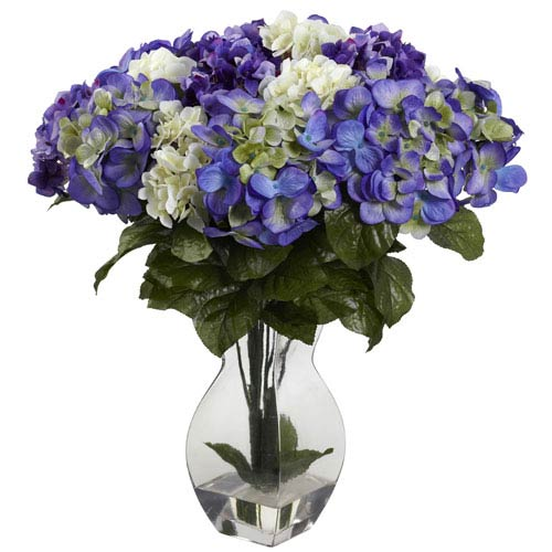 Blue Purple Mixed Hydrangea with Vase