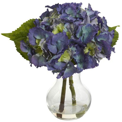 Nearly Natural Blue Blooming Hydrangea with Vase Arrangement