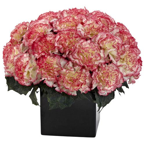 Nearly Natural Cream Pink Carnation Arrangement with Vase