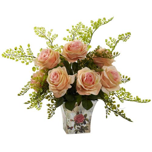 Nearly Natural Peach Rose and Maiden Hair with Floral Planter
