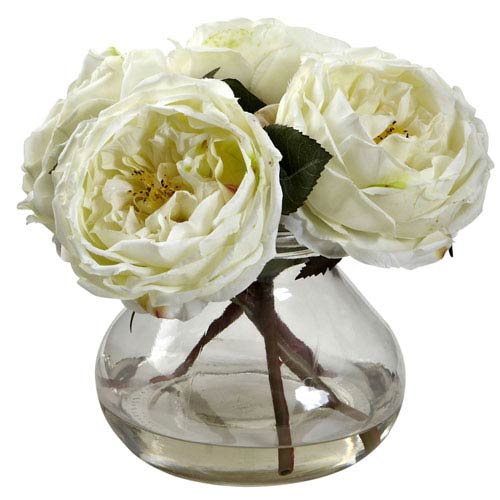 White Fancy Rose with Vase