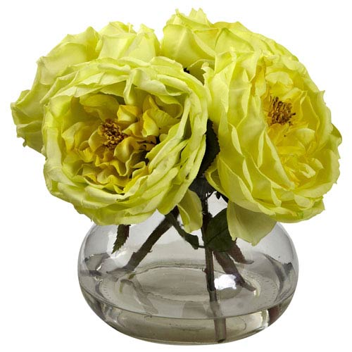 Yellow Fancy Rose with Vase