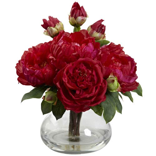 Nearly Natural Red Peony and Rose with Vase