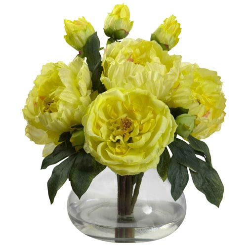 Yellow Peony and Rose with Vase
