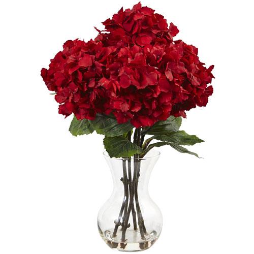 Nearly Natural Red Hydrangea with Vase Silk Flower Arrangement