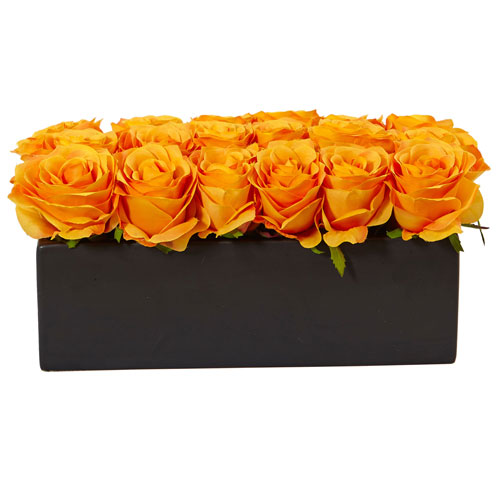 Orange Yellow Roses in Rectangular Planter