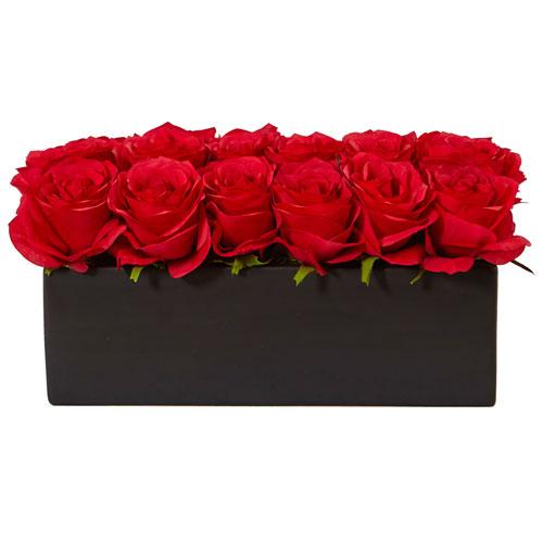 Red Roses in Rectangular Planter