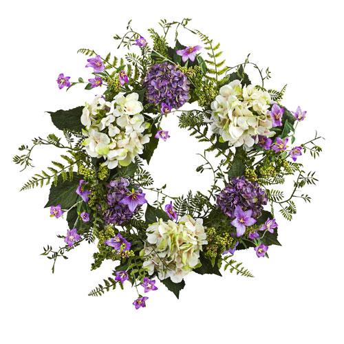 White and Purple 24-Inch Hydrangea Berry Wreath