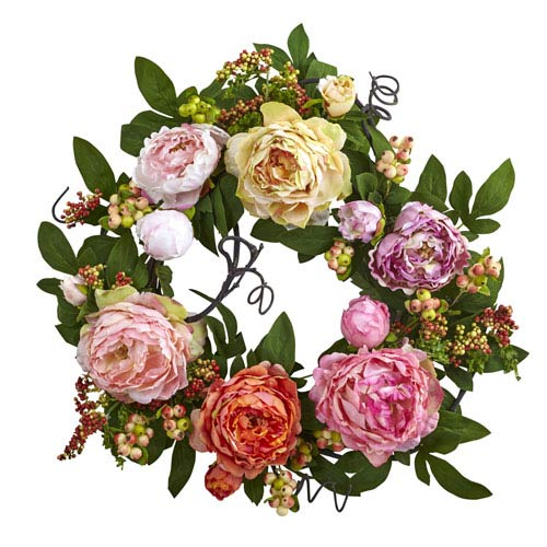 Multicolor 20-Inch Mixed Peony and Berry Wreath