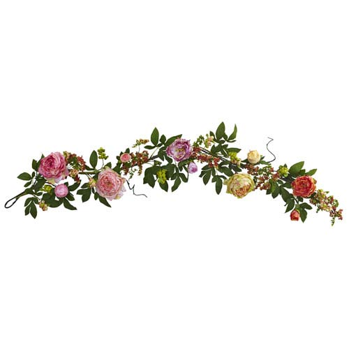 Multicolor 60-Inch Mixed Peony and Berry Garland