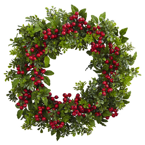 24-Inch Berry Boxwood Wreath