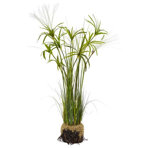 Nearly Natural Papyrus Plant with Faux Soil