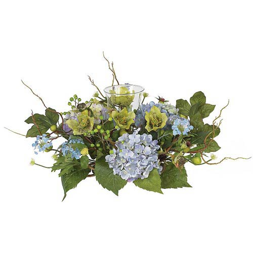 Nearly Natural Hydrangea Candelabrum Silk Flower Arrangement