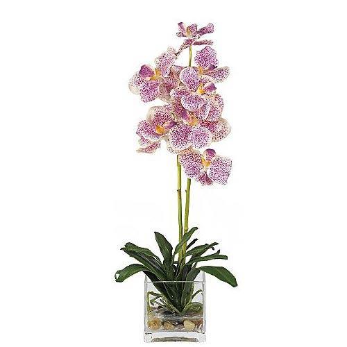 Purple Vanda with Glass Vase Silk Flower Arrangement