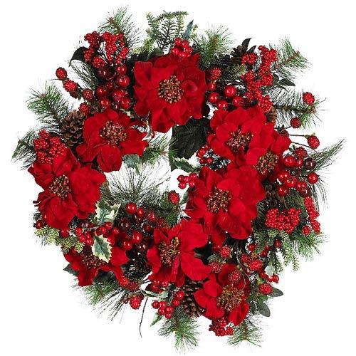 24-Inch Poinsettia Wreath