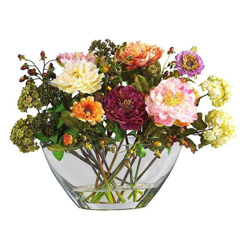 Mixed Peony with Glass Vase Silk Flower Arrangement