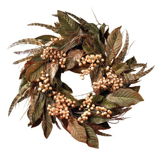 24-Inch Feather and Berry Wreath