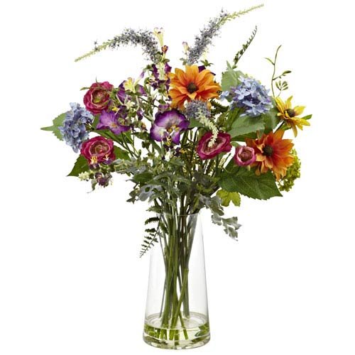 Multicolor Spring Garden Floral with Vase