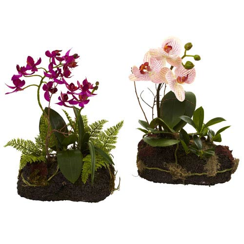 Purple and Pink Orchid Island, Set of Two
