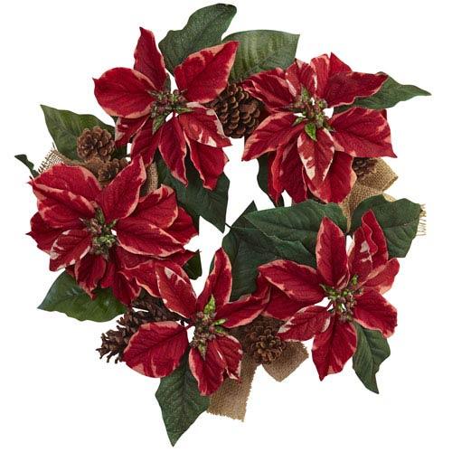 Red 22-Inch Poinsettia, Pine Cone and Burlap Wreath
