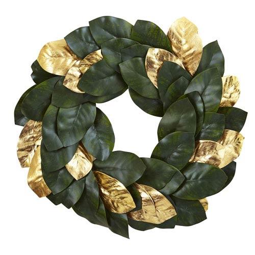 Green 22-Inch Golden Leaf Magnolia Wreath