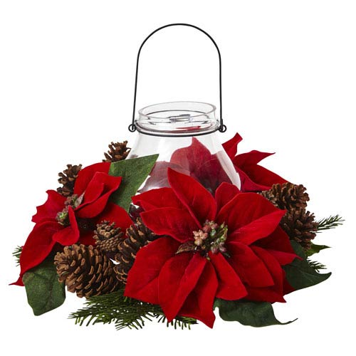 Red Poinsettia Pine and Pine Cone Candelabrum