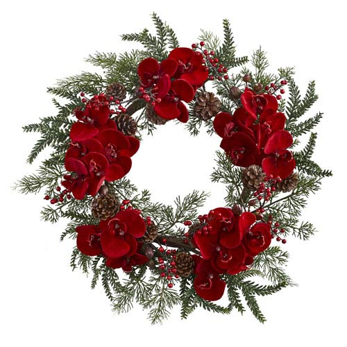 Red 22-Inch Orchid, Berry and Pine Holiday Wreath
