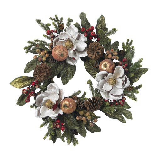 24-Inch Magnolia Pinecone and Berry Wreath