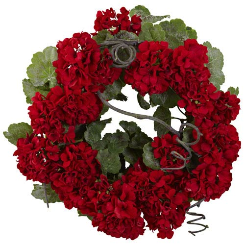 Red 17-Inch Geranium Wreath