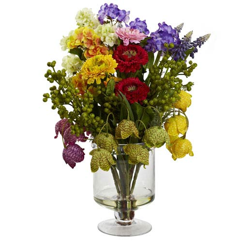 Nearly Natural Multicolor Spring Floral Arrangement