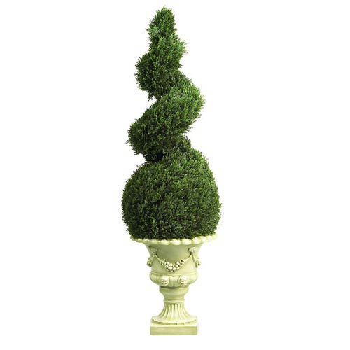 4-Foot Indoor/Outdoor Cedar Spiral with Decorative Vase