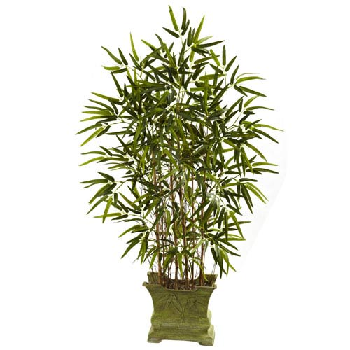 Green 45-Inch Bamboo Tree with Decorative Planter