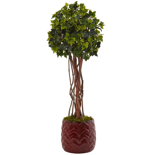 2.5 Ft. English Ivy Tree in Red Planter UV Resistant