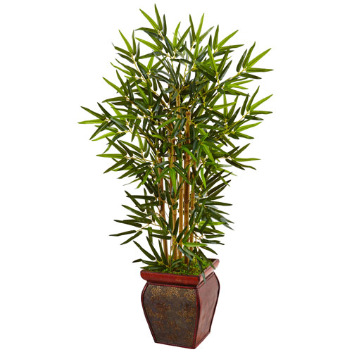 3.5 Ft. Bamboo Tree in Wooden Decorative Planter