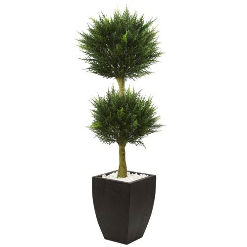 Nearly Natural 4.5 Ft. Cypress Topiary with Black Planter UV Resistant