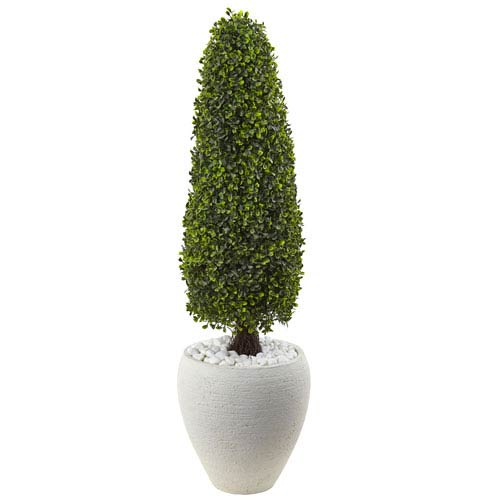 Nearly Natural Boxwood Topiary with Textured White Planter UV Resistant
