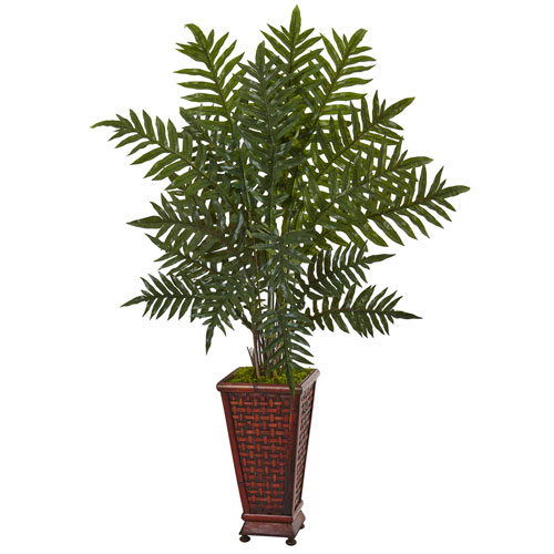 4 Ft. Evergreen Plant in Round Wood Planter