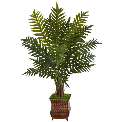 4 Ft. Evergreen Plant in Metal Planter