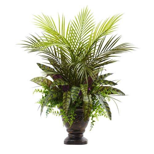 Green 27-Inch Mixed Areca Palm, Fern and Peacock with Planter