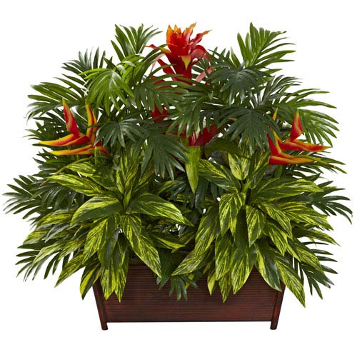 Nearly Natural Multicolor Tropical Garden with Wood Planter
