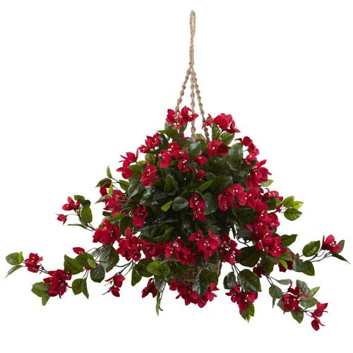 Nearly Natural Red Bougainvillea UV Resistant Hanging Basket