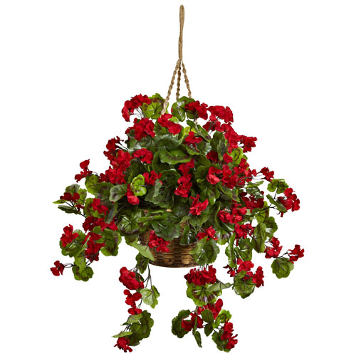 Nearly Natural Red Geranium UV Resistant Hanging Basket
