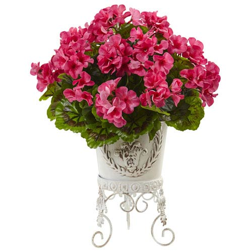Geranium with Metal Planter UV Resistant