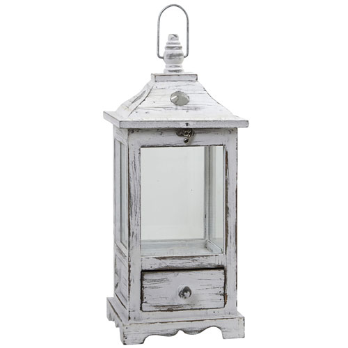 Distressed Wooden Lantern with Drawers
