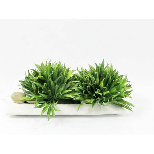 Green Faux Rye Grass Planter with Rocks