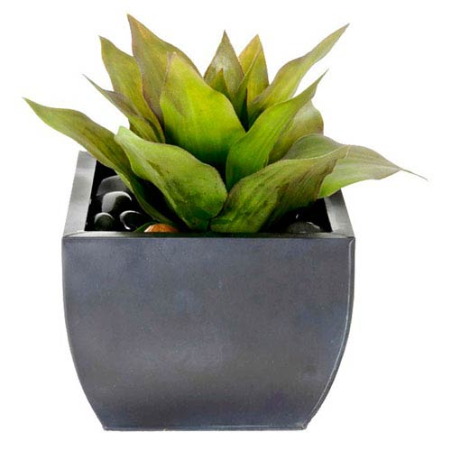 Creative Branch Succulents Faux Agave in Zinc Planter