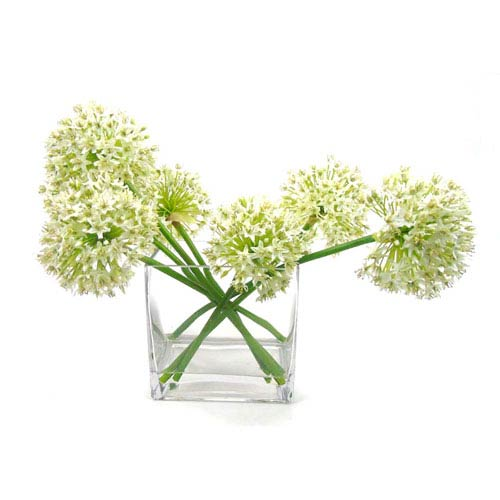 Faux Allium in Glass Vase