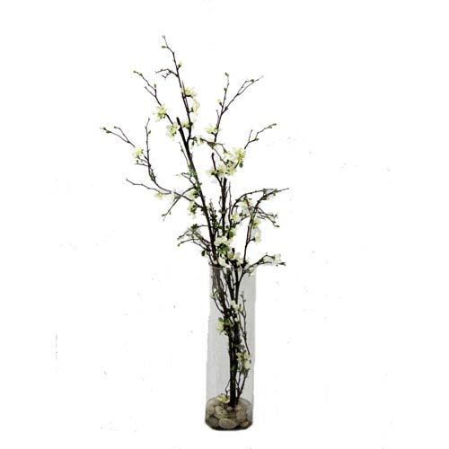 Brown and White Faux Quince Blossom in Cylinder