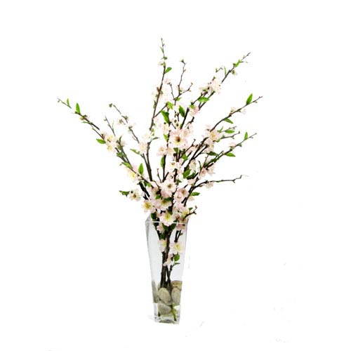 Green and Pink Faux Cherry Blossom with Vase