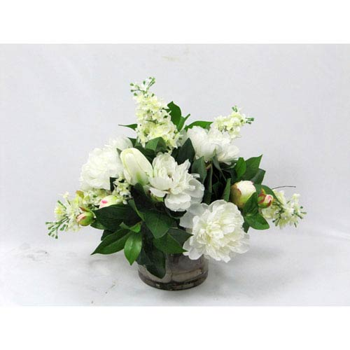 Creative Branch White Mixed Faux Flower Arrangement